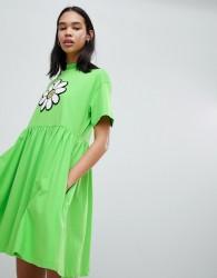 Lazy Oaf Giant Daisy Smock Dress - Green