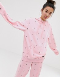Lazy Oaf oversized hoodie with sad face embroidery co-ord - Black