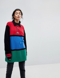 Lazy Oaf Oversized Rugby Shirt With Zip Neck In Colourblock - Multi