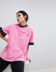 Lazy Oaf Oversized T-Shirt With Chicken Drumstick Patch - Pink