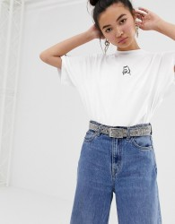 Lazy Oaf oversized t-shirt with i prefer dogs embroidery - White