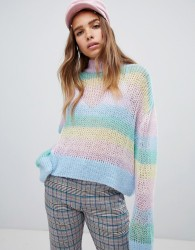Lazy Oaf pastel rainbow stripe fine knit jumper - Multi