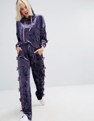 Lazy Oaf Relaxed Joggers With Bow Side Detail In Luxe Velvet Co-Ord - Purple