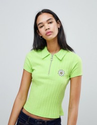 Lazy Oaf Ribbed Polo Shirt With Flower - Green