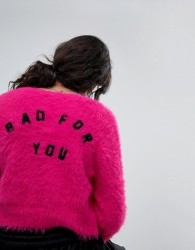 Lazy Oaf Shrunken Cardigan In Fluffy Knit With Bad For You Back - Pink