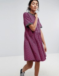 Lazy Oaf Smock Dress In Stripe With Bad For You Taping - Pink