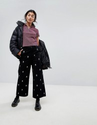 Lazy Oaf Wide Leg Jeans With All Over Skull Embroidery - Black