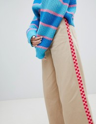 Lazy Oaf wide leg trousers with checkerboard stripe detail - Brown