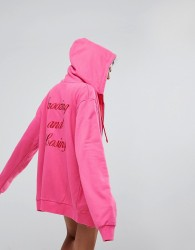 Lazy Oaf Zip Through Hoodie With Snoozing And Losing Back - Pink