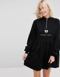 Lazy Oaf Zip Up Sweat Dress With Nobody Cares Zip Detail - Black