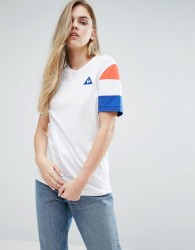 Le Coq Sportif Boyfriend T-Shirt With Tricolores Sleeve - White