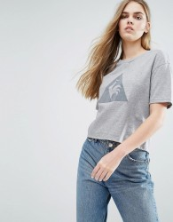 Le Coq Sportif Cropped T-Shirt With Large Logo - Grey