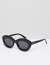 Le Specs Fluxus Cat Eye Sunglasses In Black - Black