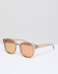 Le Specs Paramount Round Sunglasses In Tan - Pink