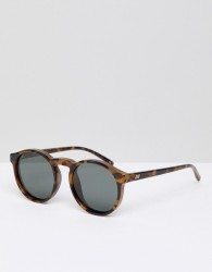 Le Specs Round Polarized Sunglasses in Tort - Brown