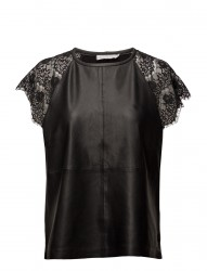 Leather/Heavy Jersey Top W.Lace Sle