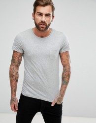 Lee Jeans Pocket T-Shirt with Lower Front Lee Tab - Grey