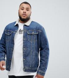 Lee plus borg borg denim jacket vintage wash - Blue