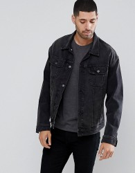 Lee Rider Oversized Denim Washed Black Jacket - Black