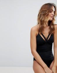 Lepel London Mesh Trim Halter Swimsuit - Black