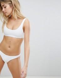 Lepel London Ribbed Cropped Bikini Top In White - White