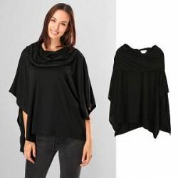 Lesara Poncho-sweater med draperet krave