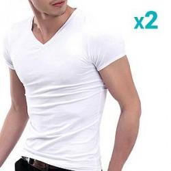 Lesara Sæt med 2 stk. klassisk V-hals T-shirt
