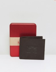 Levi's Embossed Leather Wallet In Brown - Brown