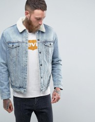 Levis Type 3 Borg Jacket Fine Line Bleach Wash - Blue