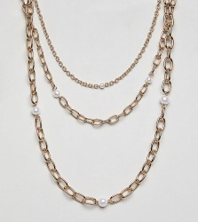 Liars & Lovers multi row gold chain & pearl necklaces - Gold