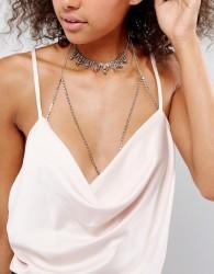 Liars & Lovers Rhinestone Choker & Cupchain Bralet - Silver