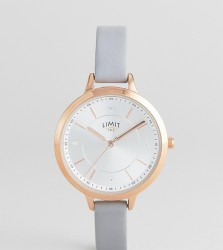 Limit Sunray Faux Leather Watch In Grey Exclusive To ASOS - Grey