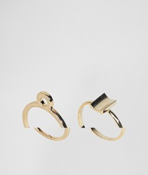 Limited Edition Pack of 2 Open Circle and Curved Square Rings - Gold