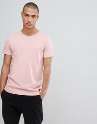 Lindbergh Crew Neck Stretch T-Shirt In Pink - Grey