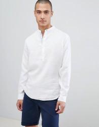 Lindbergh Linen Shirt With Grandad Collar In White - Green
