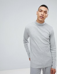 Lindbergh Long Sleeve Roll Neck in Grey - Grey