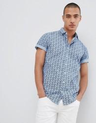 Lindbergh Short Sleeve Shirt In Blue Pineapple Print - Grey