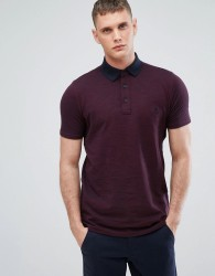 Lindbergh Slim Fit Space Dye Polo in Bordeaux - Red