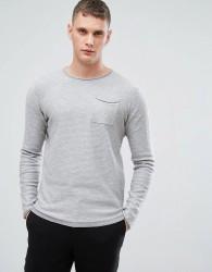 Lindbergh Stripe Long Sleeve T-Shirt in Grey - Grey
