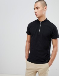 Lindbergh T-Shirt In Black Pique With Zip Neck - White