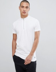 Lindbergh T-Shirt In White Pique With Zip Neck - Beige