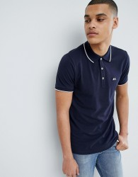 Lindbergh Tipped Basic Polo Shirt In Navy - Navy