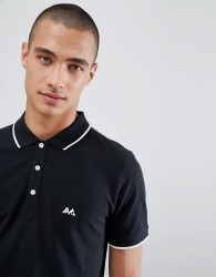 Lindbergh Tipped Polo Shirt In Black - Grey