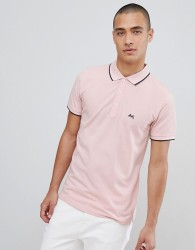 Lindbergh Tipped Polo Shirt In Pink - Black