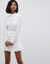 Lioness High Neck Cutwork Lace Mini Skater Dress - White