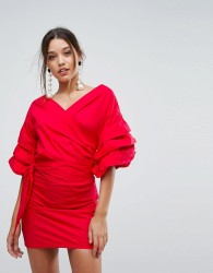 Lioness Off Shoulder Mini Dress With Ruched Sleeve Detail - Red