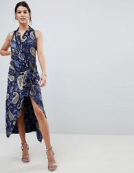 Lioness Wrap Front Cami Midi Dress In Summer Velvet Print - Multi