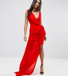Lioness Wrap Front Maxi Dress - Red