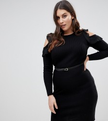 Lipsy Curve Knitted Midi Dress With Frill Detail - Black