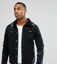 Liquor N Poker Black Wash Rip & Repair Borg Denim Jacket - Black
